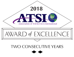 2 years in a row VoiceNation received ATSI's Award of Excellence