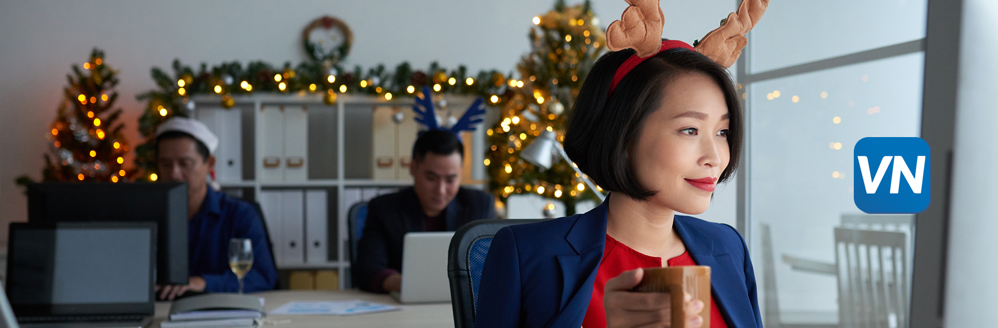woman in reindeer headband at answering service